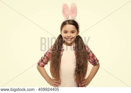 Adorable Bunny. Small Girl Child In Easter Bunny Style. Fashion Accessory For Easter Costume Party.