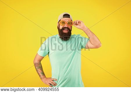 My Beach Party. Man In Funny Glasses On Yellow Background. Just Have Fun. Party Accessory. Happy Man