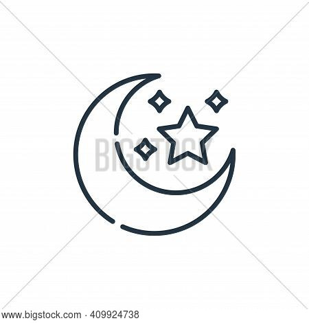 moon icon isolated on white background from desert collection. moon icon thin line outline linear mo