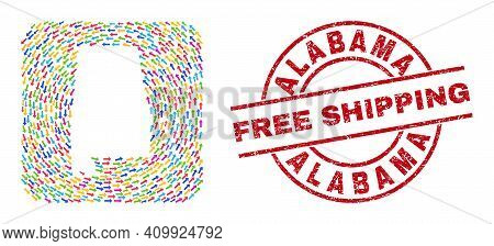 Vector Mosaic Alabama State Map Of Navigation Arrows And Scratched Free Shipping Badge. Mosaic Geogr