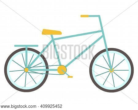 Bike. Bicycle For Children And Adults With Two Wheels And A Rack And Pedals. Isolated Object, Elemen