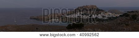 Lindos With The Castle Above At Sunset