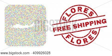 Vector Mosaic Flores Islands Of Indonesia Map Of Motion Arrows And Rubber Free Shipping Badge.