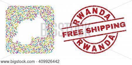 Vector Mosaic Rwanda Map Of Moving Arrows And Rubber Free Shipping Seal. Mosaic Geographic Rwanda Ma