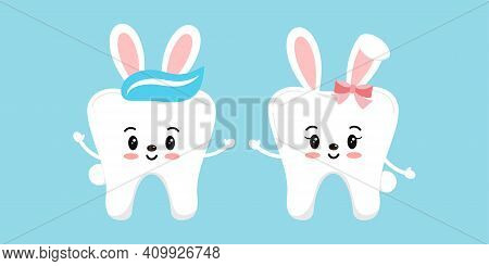 Easter Bunny Rabbit Teeth Dental Icon Set Isolated. Dentist Easter Cute White Tooth Character With B