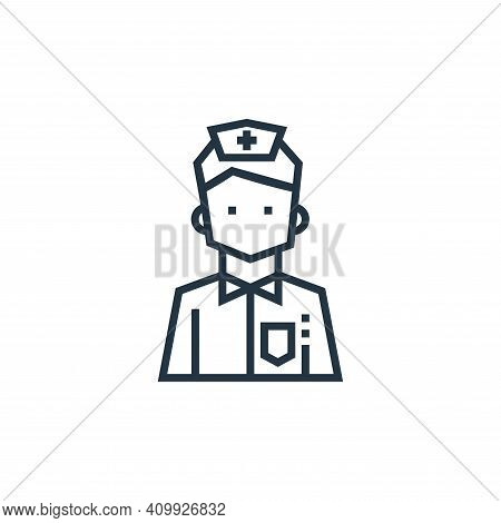 male nurse icon isolated on white background from medical services collection. male nurse icon thin