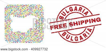 Vector Collage Bulgaria Map Of Migration Arrows And Scratched Free Shipping Seal. Mosaic Geographic