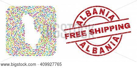 Vector Collage Albania Map Of Pointing Arrows And Rubber Free Shipping Seal. Collage Geographic Alba