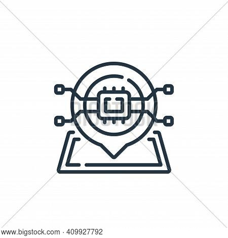 location icon isolated on white background from robotics collection. location icon thin line outline