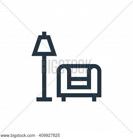 living room icon isolated on white background from real estate collection. living room icon thin lin