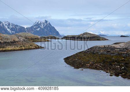 Lofoten Islands. Norway. Fishing. Travel. Classic Norwegian Scandinavian Mountain Landscape View Wit