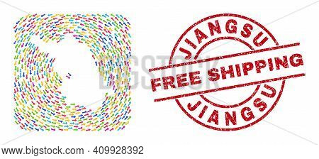 Vector Mosaic Jiangsu Province Map Of Motion Arrows And Rubber Free Shipping Badge. Mosaic Geographi