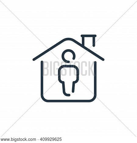 house icon isolated on white background from coronavirus collection. house icon thin line outline li