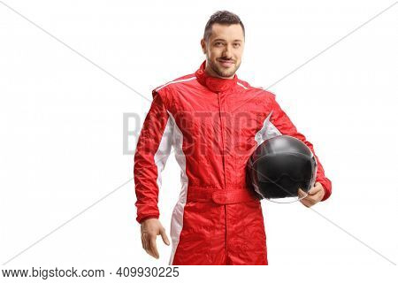 Man racer in a red uniform holding a helmet and smiling isolated on white background