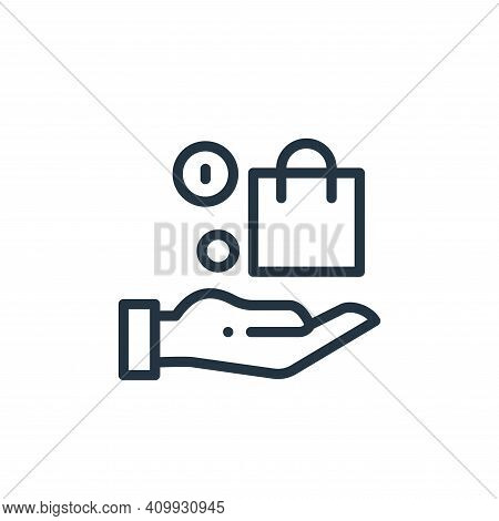hand icon isolated on white background from online shopping collection. hand icon thin line outline