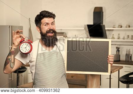 Breakfast Eating Habits. Easy Recipes With Few Ingredients. Man With Blackboard Copy Space. Chef Kit