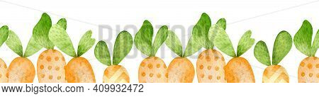 Watercolor Seamless Border Of Cartoon Style Orange Carrots. Happy Easter Hand-painted Header. Carrot