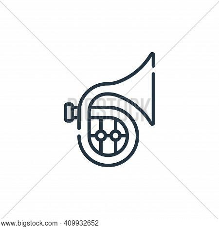 french horn icon isolated on white background from music collection. french horn icon thin line outl
