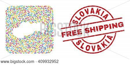 Vector Mosaic Slovakia Map Of Pointing Arrows And Rubber Free Shipping Seal Stamp. Mosaic Geographic