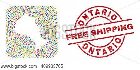 Vector Mosaic Ontario Province Map Of Delivery Arrows And Rubber Free Shipping Seal. Mosaic Geograph