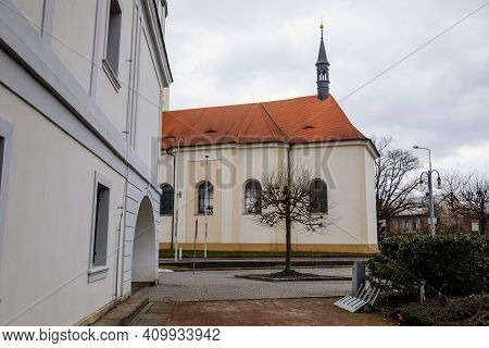 Baroque Church Of St. Mary Magdalene With Clock Tower At Main Masaryk Square In City Centre, Spa Res