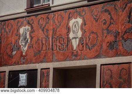 Vilnius, Lithuania - May 14, 2017: Detail Of Sgraffito Decoration On The Building Of A Former Antiqu