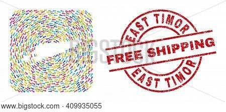 Vector Mosaic East Timor Map Of Rotation Arrows And Rubber Free Shipping Seal. Mosaic Geographic Eas