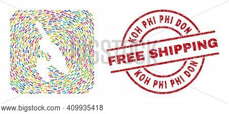 Vector Mosaic Koh Phi Don Map Of Migration Arrows And Rubber Free Shipping Badge. Mosaic Geographic