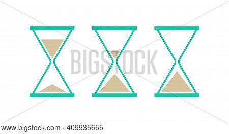 Hourglass, Sandglass Icon Set. Triangular Hourglasses. Flat Vector Illustration Isolated On White.