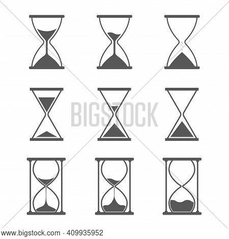 Hourglass, Sandglass Icon Set. Classic Shape, Triangular And Round. Flat Vector Illustration Isolate