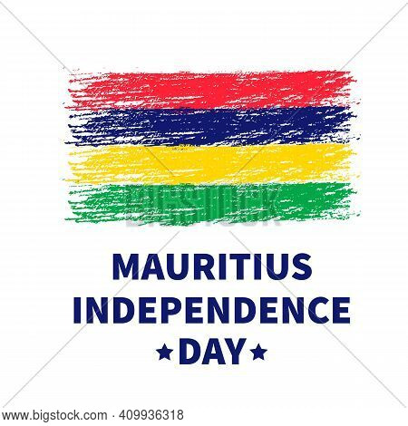 Mauritius Independence Day Lettering With Grunge Flag. Holiday Celebrated On March 12. Vector Templa