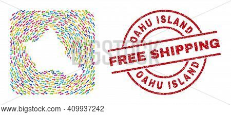 Vector Mosaic Oahu Island Map Of Navigation Arrows And Rubber Free Shipping Seal. Mosaic Geographic