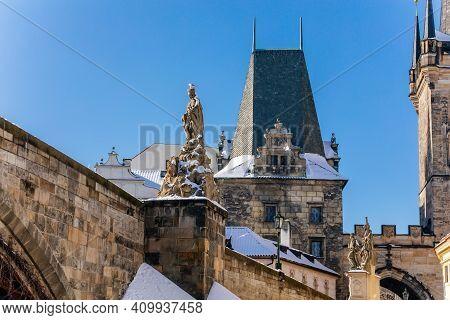 Medieval Ancient Charles Bridge Landmark Looking Toward Lesser Town, Gothic Stone Bridge Tower With