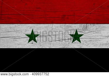 Flag Of Syria. Wooden Texture Of The Flag Of Syria.