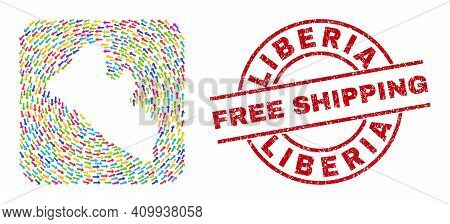 Vector Mosaic Liberia Map Of Moving Arrows And Rubber Free Shipping Stamp. Mosaic Geographic Liberia