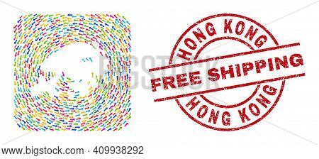Vector Mosaic Hong Kong Map Of Pointer Arrows And Rubber Free Shipping Seal Stamp. Mosaic Geographic
