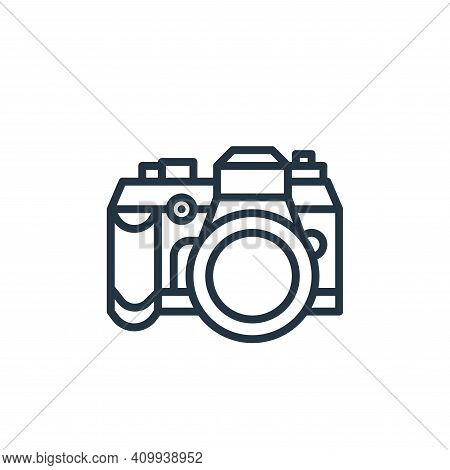 camera icon isolated on white background from camping collection. camera icon thin line outline line