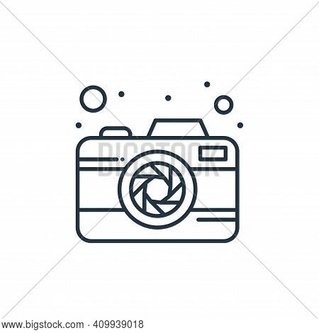 camera icon isolated on white background from brazilian carnival collection. camera icon thin line o