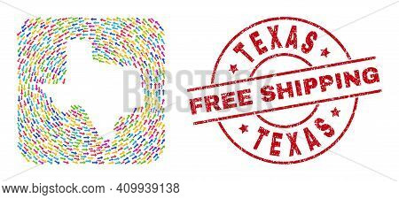 Vector Collage Texas State Map Of Migration Arrows And Grunge Free Shipping Seal. Collage Geographic