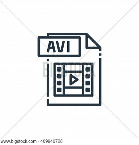avi file icon isolated on white background from file type collection. avi file icon thin line outlin