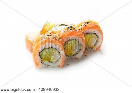 California, Rainbow Sushi Rolls With Salmon, Cucumber And Pickled Radish, Isolated On A White.