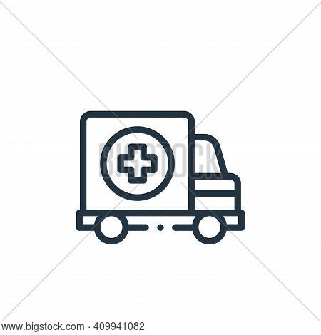 ambulance icon isolated on white background from medicine collection. ambulance icon thin line outli