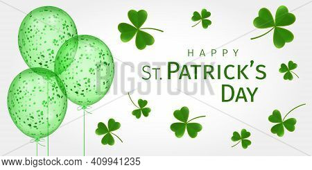 Happy St. Patrick's Day. St. Patricks Day Greeting Card With Flying Clover Leaves And Balloons With