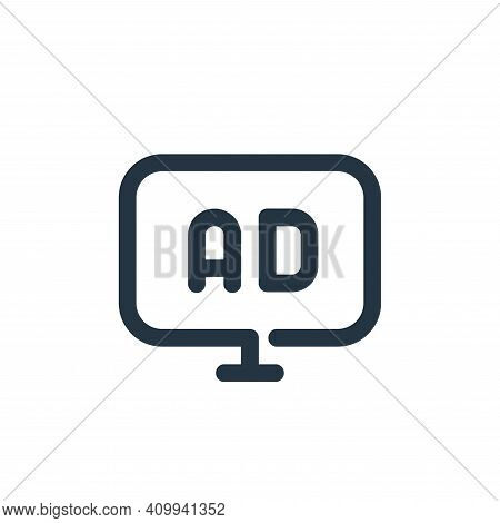 advertising icon isolated on white background from seo collection. advertising icon thin line outlin