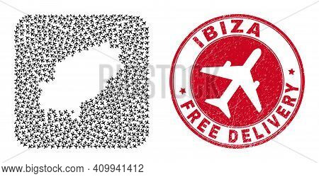 Vector Collage Ibiza Island Map Of Air Plane Elements And Grunge Free Delivery Seal. Collage Geograp
