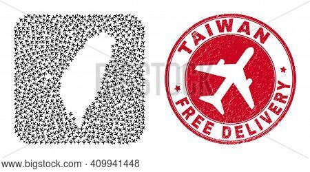 Vector Collage Taiwan Map Of Aeroplane Items And Grunge Free Delivery Stamp. Collage Geographic Taiw