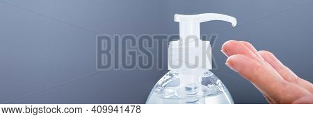 Hand Using Disinfectant Gel, Rub Alcohol And Handwash