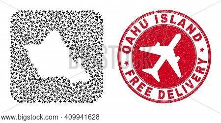 Vector Collage Oahu Island Map Of Air Force Items And Grunge Free Delivery Seal Stamp. Collage Geogr