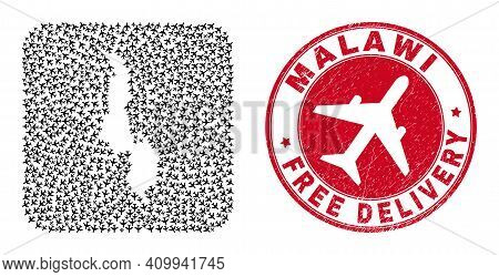 Vector Mosaic Malawi Map Of Air Plane Items And Grunge Free Delivery Seal Stamp. Mosaic Geographic M