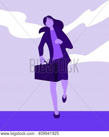 Businesswoman Running Businesswoman Run To Work. Businesswoman Run. Business Vector. Concept Busines